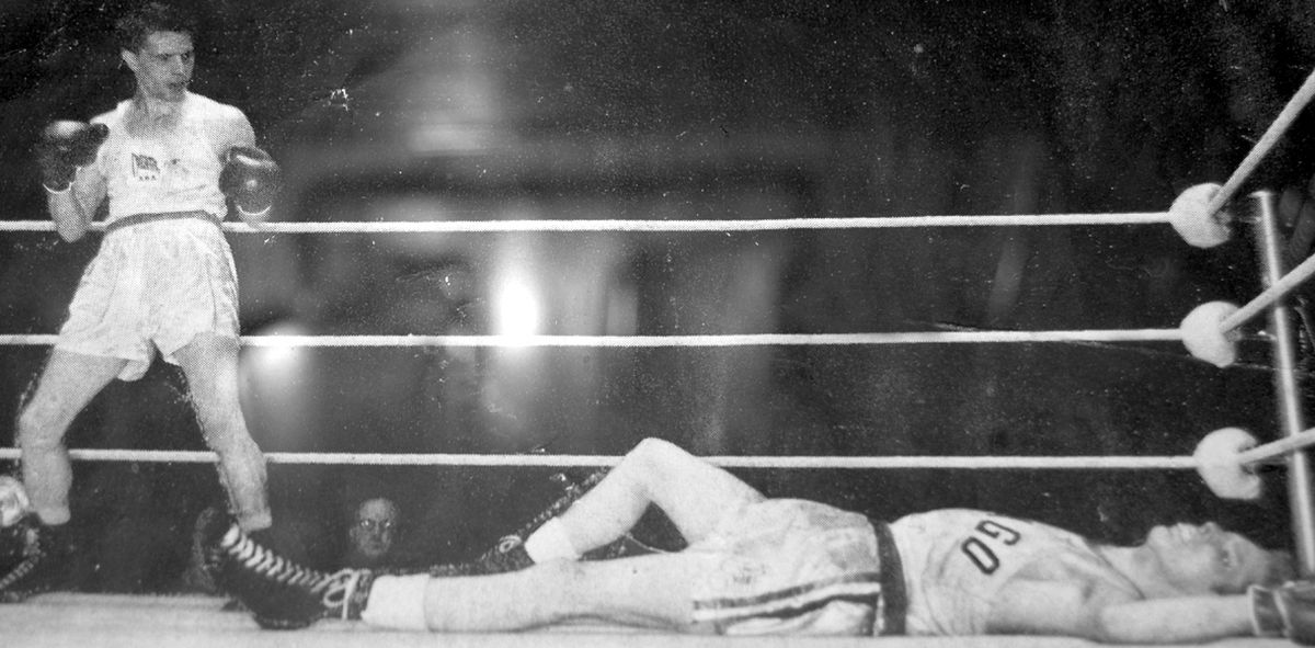 This is thought to show the moment when Tommy knocked out American Golden Gloves champion Harvard Lancour at London live on television in 1955.