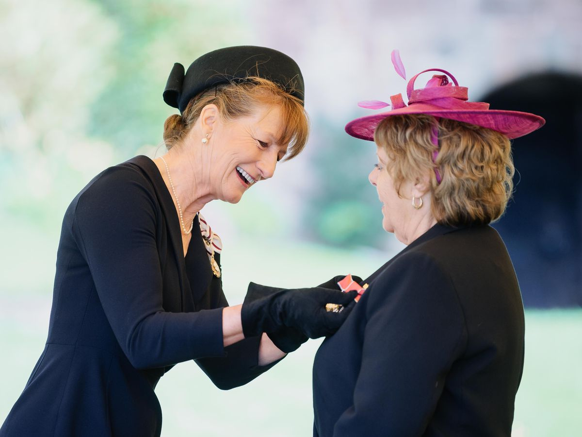 Lord-Lieutenant Anna Turner with Margaret Hamer at the British Empire Medal awards presentation in the grounds of Shrewsbury Castle