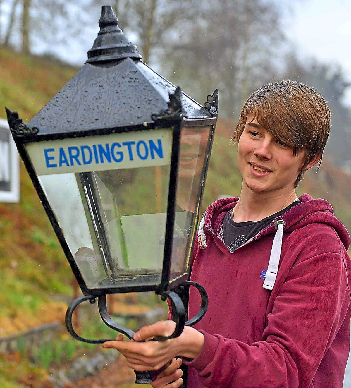 Ben Nicholls 17 from Telford with the station lamp