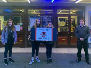 BES students Gracie Evers, Frederika Williams Brown and Scarlett Beddoes with Bridgnorth Cinema Manager, James Frizzell