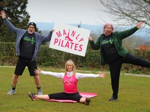 BORDER PIC / DAVID HAMILTON PIC / SHROPSHIRE STAR PIC 23/3/21 Getting ready for a pilates class, Mainly Pilates instructor Carole Main, with volunteers from Oswestry & Border Foodbank Jason Hicklin and Alison Utting, at Ellesmere Bowling Club, Elesmere..