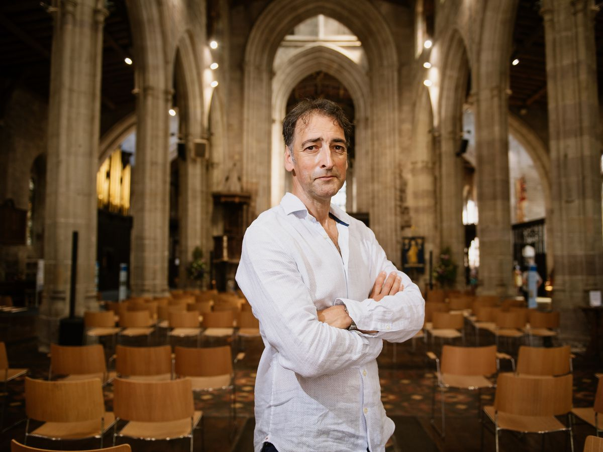 Alistair McGowan at St Laurence's Church ahead of his performance closing the Ludlow Fringe Festival