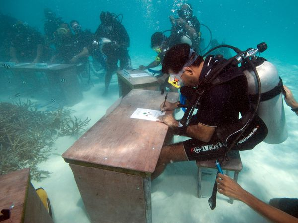 A man at a desk underwater
