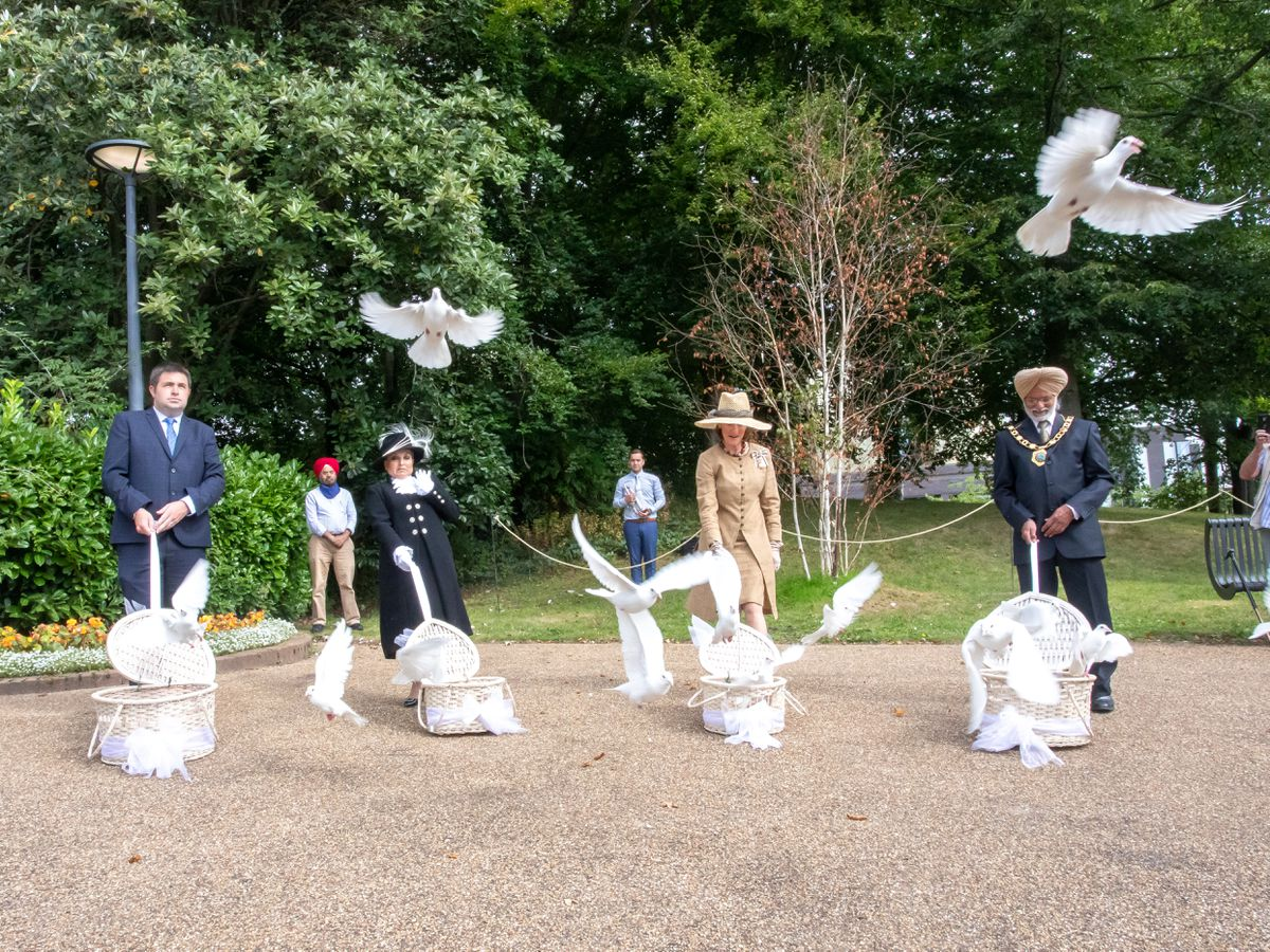 Doves were released as part of the civic ceremony. Photo: Rob Finney