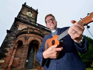 Sam Johnson, new curate at St Alkmund's Church in Whitchurch, is a mean ukulele player