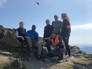 Research Team members Darija Soltic, John Garcia, Sharon Owen, Mike Williams, Jade Perry and Tim Hopkins, stopping for a rest in 2019
