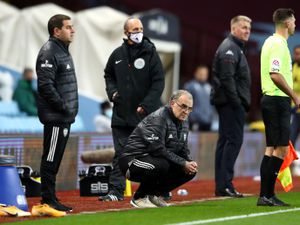 Leeds United manager Marcelo Bielsa (centre) on the touchline during the Premier League match at Villa Park, Birmingham..