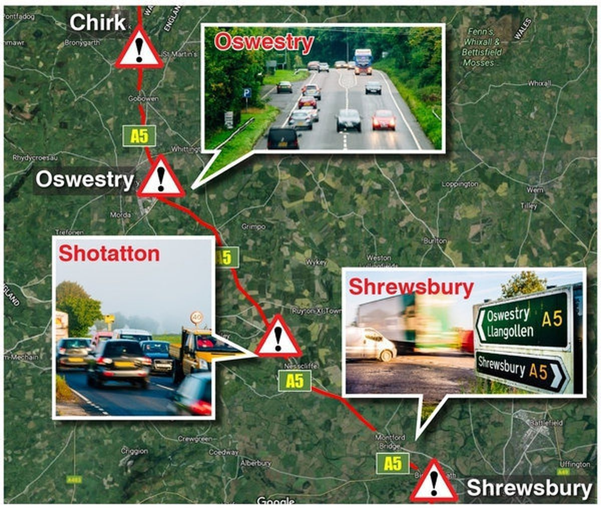 The A5 in Shropshire