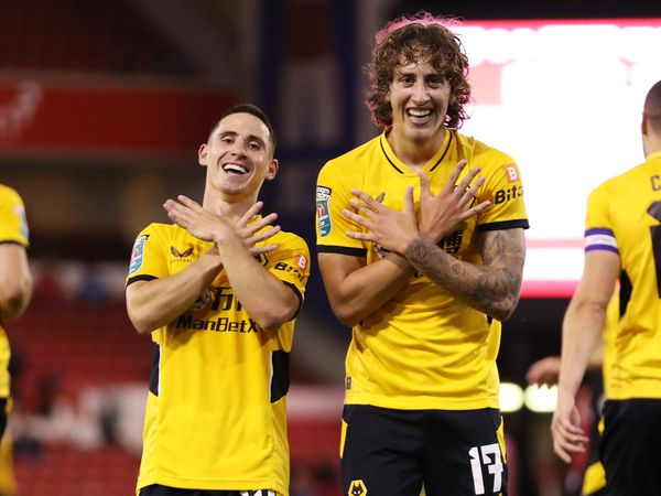 Daniel Podence and Fabio Silva celebrate against Nottingham Forest. (Getty).