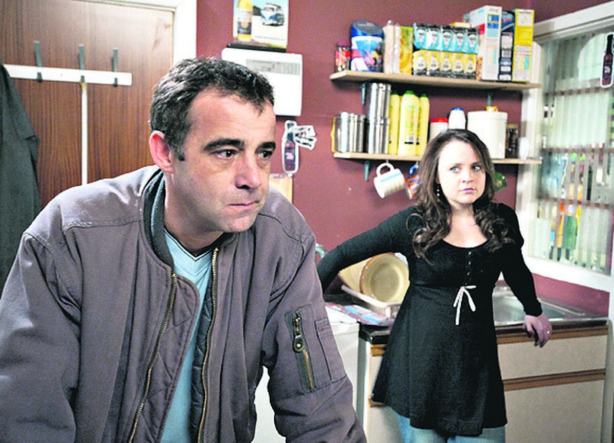 Vicky Binns as Molly Dobbs and Michael Le Vell as Kevin Webster in Coronation Street