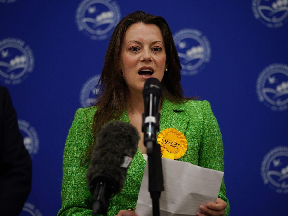 Sarah Green of the Liberal Democrats makes a speech after being declared winner
