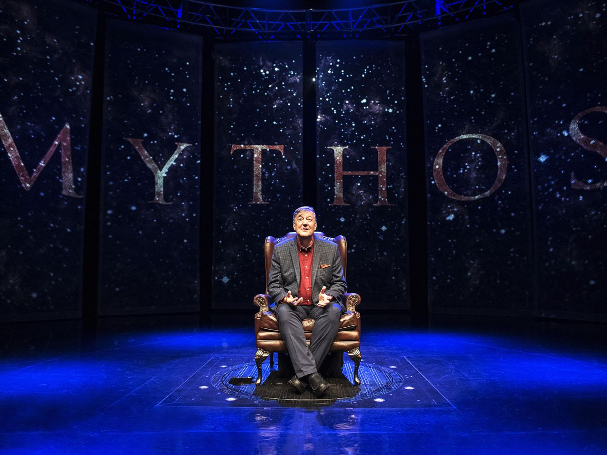Stephen Fry on stage for Mythos