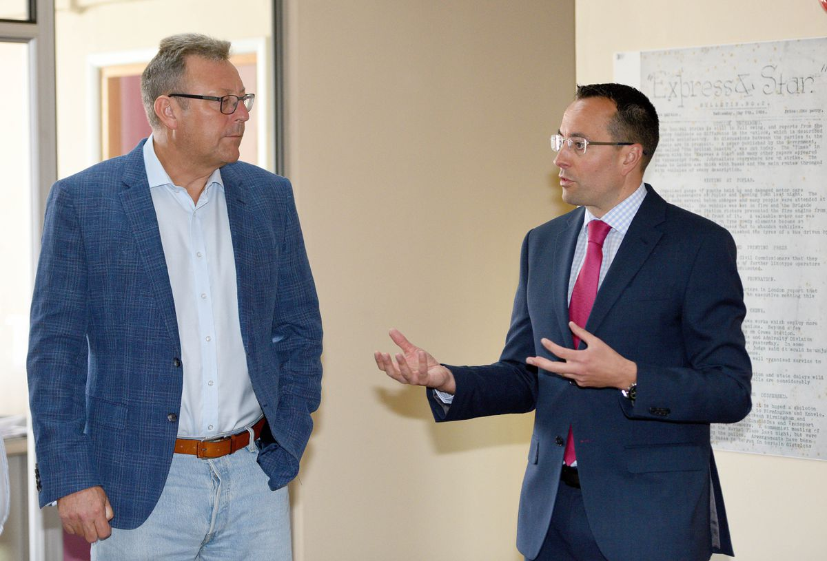 Camelot chief executive Nigel Railton with editor-in-chief Martin Wright during a visit to the Express & Star and Shropshire Star