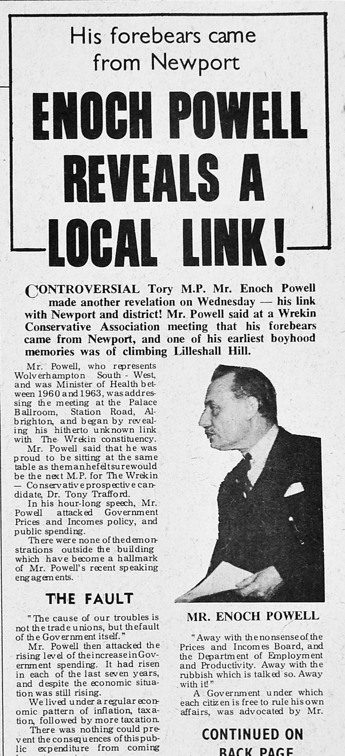 A report in the Newport and Market Drayton Advertiser of Friday, January 10, 1969, revealing the controversial politician's local links.