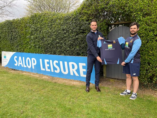 Salop Leisure's marketing manager Ed Glover with Shrewsbury Cricket Club's first team captain Will Parton after agreeing the new sponsorship deal.