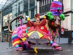 Panto dame joins Bullring Bull in his glad rags ahead of Birmingham Hippodrome shows - in pictures