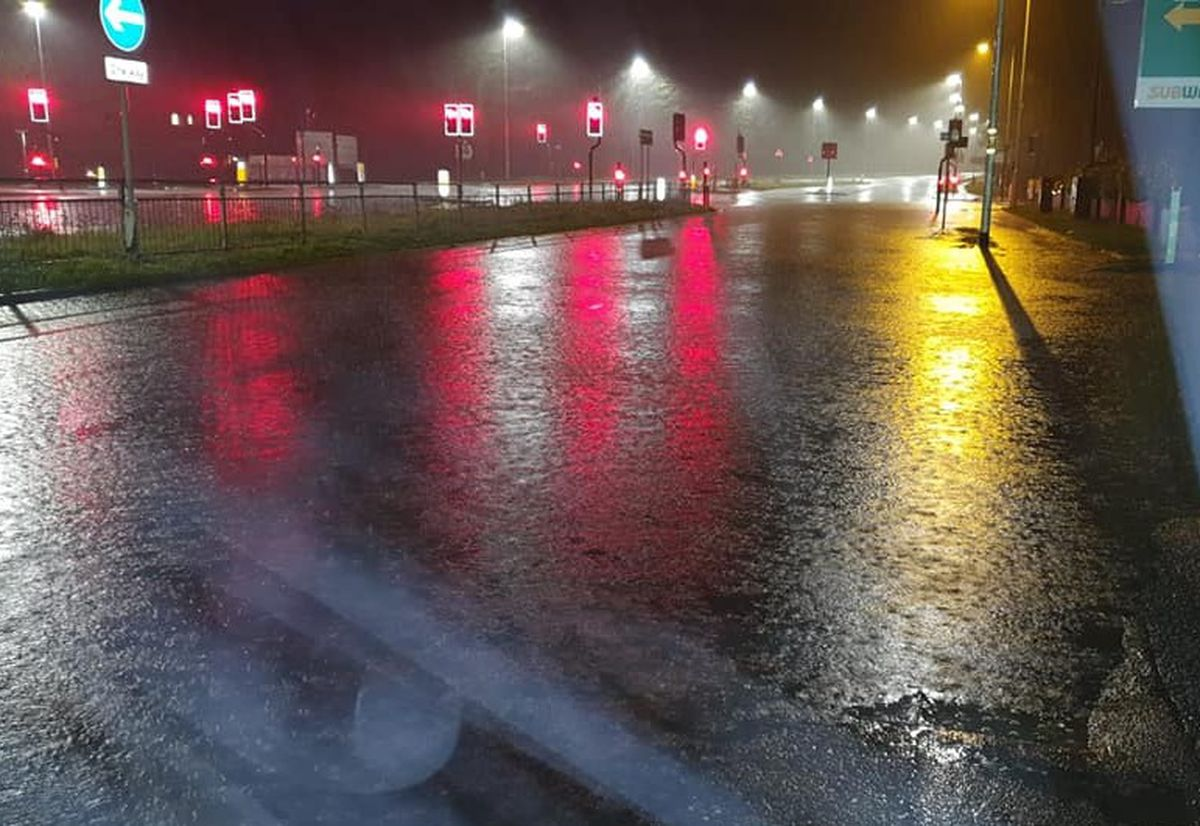 Storm Dennis flooding on the A41 in Cosford. Photo: David Bloor
