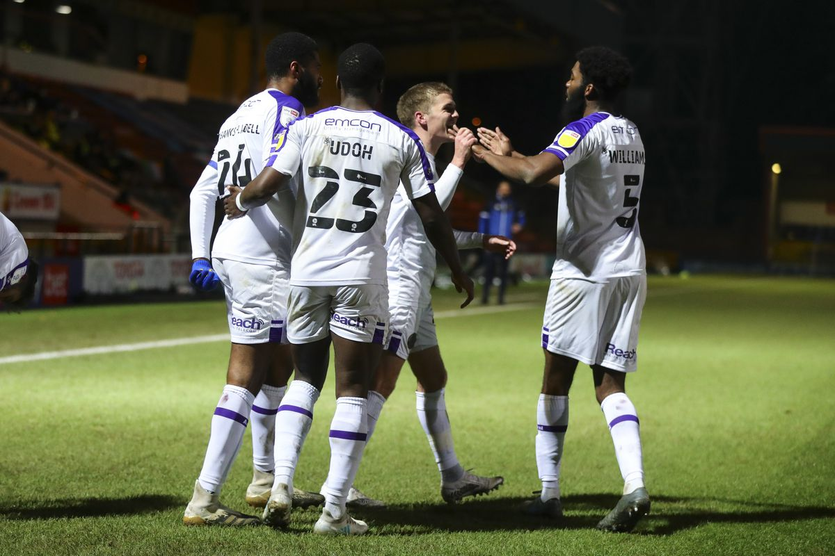 Josh Daniels celebrates his recent headed goal in the 2-0 win at Rochdale, which was his second goal for his new club (AMA)