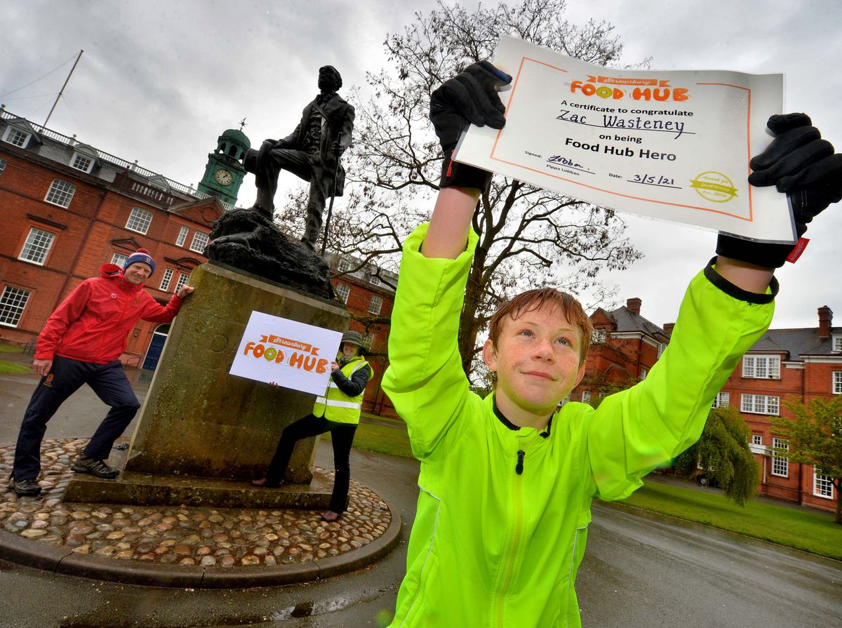 Zac Wasteney aged 13 has been raising money for Shrewsbury Food Hub. At the back is: Sam Griffiths (House Master from the School) and also Ali Thomas (Co-Founder of the Shrewsbury Food Hub)