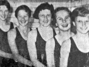 In the swim... Lynn Harris, Hilary Lamb, Marie Rainey, Margaret Pillar, and Margaret Bone.
