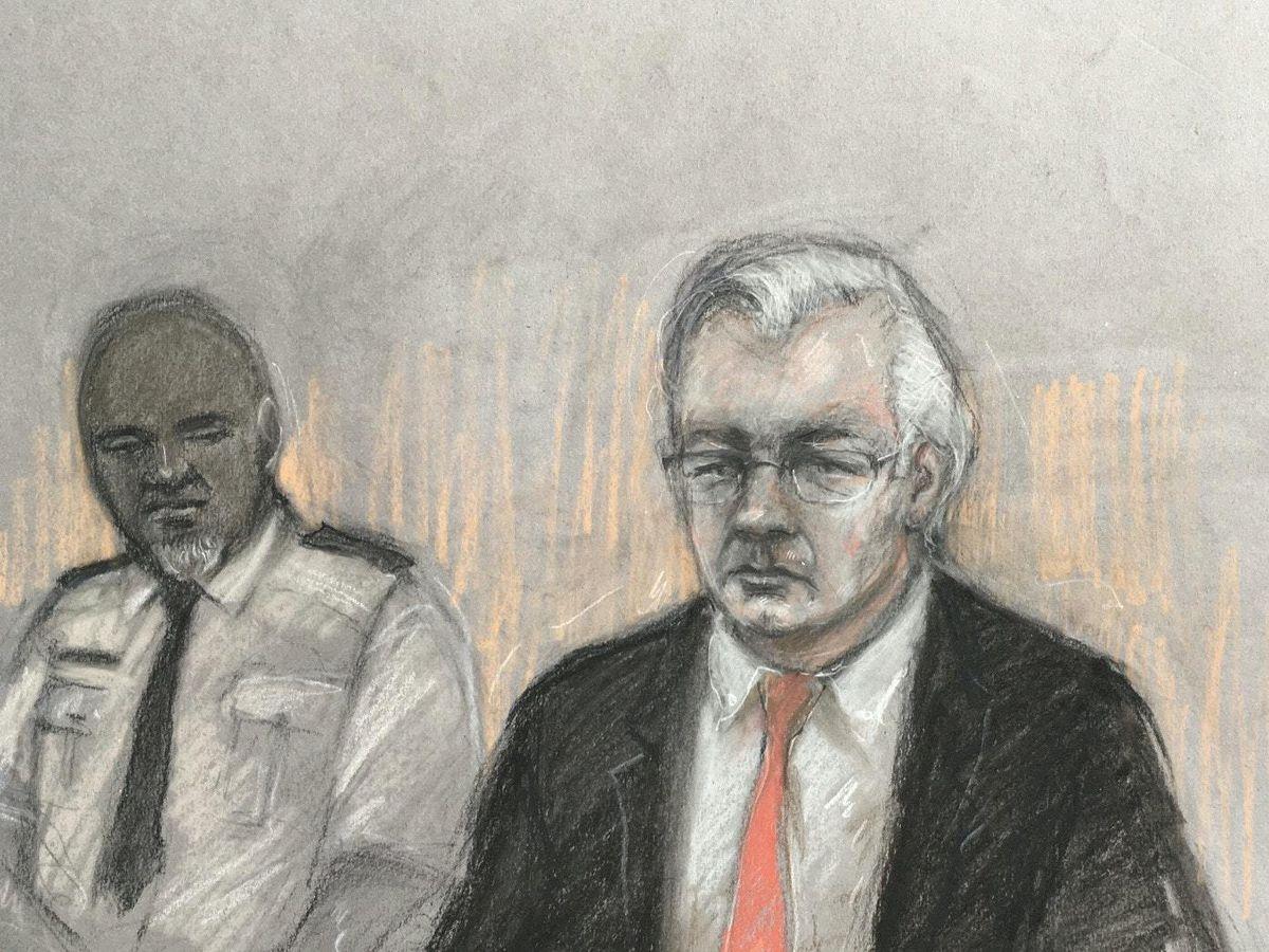 Court artist sketch by Elizabeth Cook of Julian Assange (Elizabeth Cook/PA)