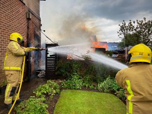 Fire crews battle shed blaze which spread to house in Dalelands Esate, Market Drayton on Monday June 21. Photo: Market Drayton Fire Station