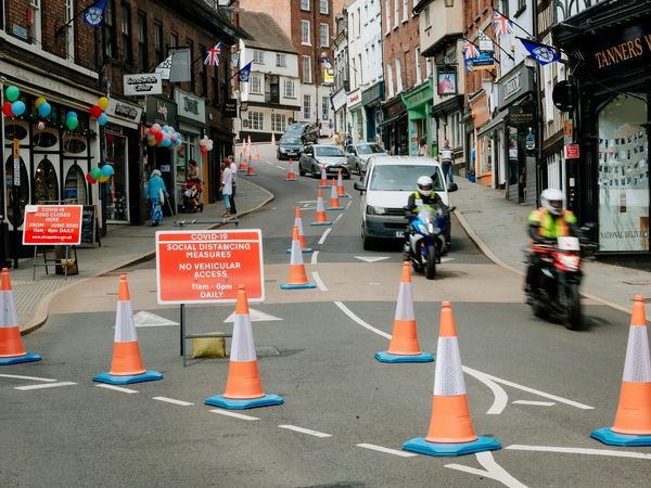 Roads like Wyle Cop in Shrewsbury town centre will become one way to increase space for social distancing