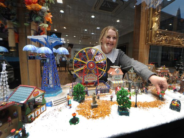 Rachel Davies looks over the winter wonderland in the window of County Goldsmiths