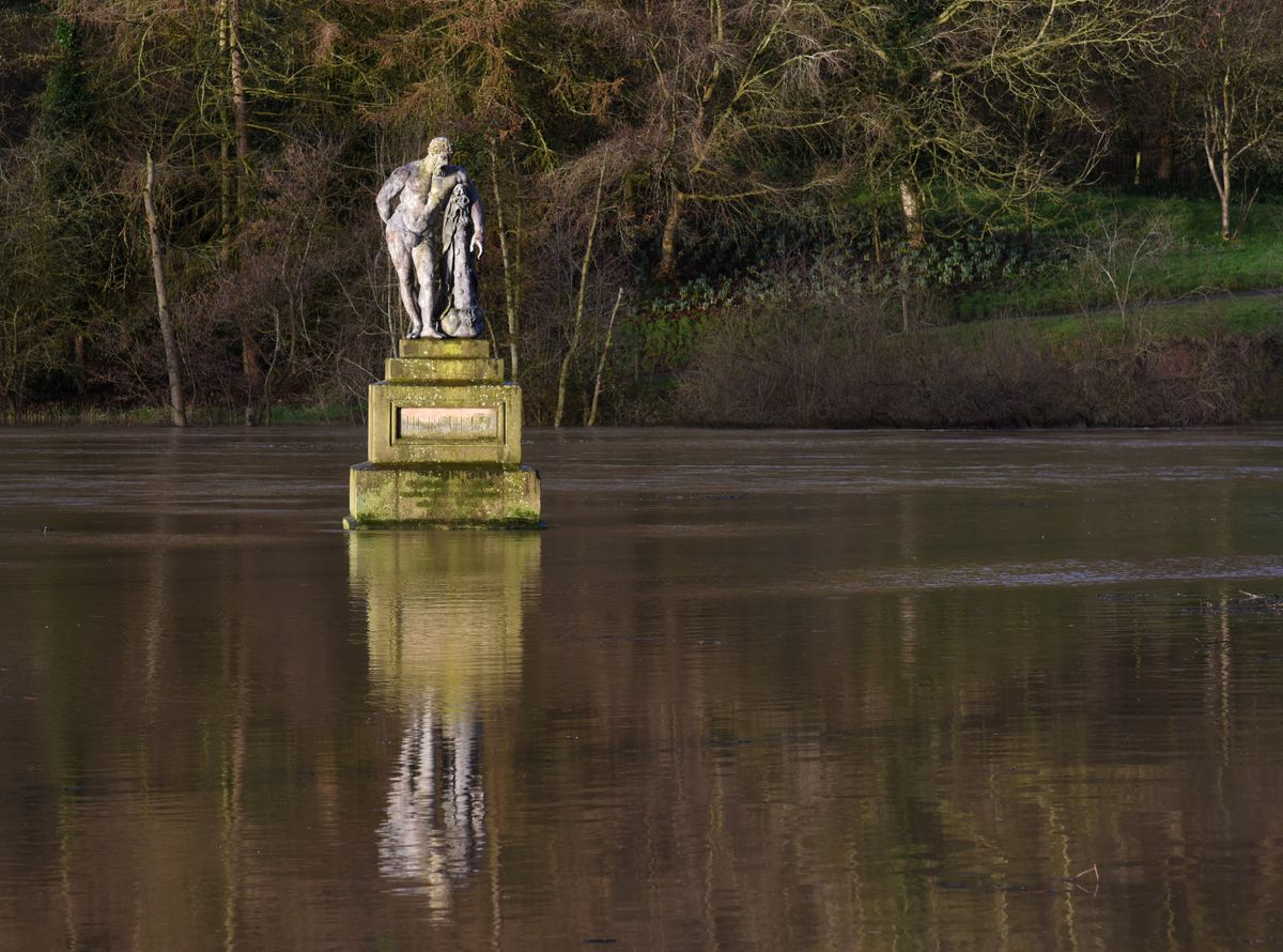 Shrewsbury flooding: Hercules statue at Quarry Park as of 8am this morning. Pic: Russell Davies