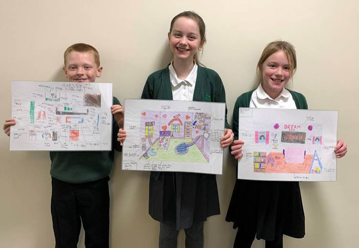 From left with their imaginative entries are Harley Massey, Luxy Dixon and Ava Highfield