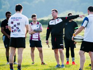 LAST COPYRIGHT SHROPSHIRE STAR JAMIE RICKETTS 25/06/2015  Newport Rugby Club - Players back in training early for new season at The Old Showground, Newport.  In Picture: Head Coach Bob Adams giving a brief talk before training.
