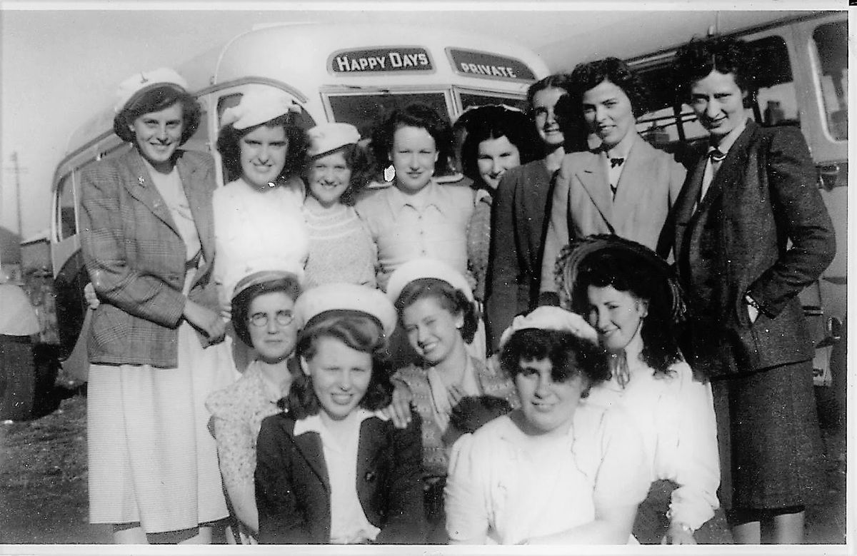 Merrythought staff on a day out in the 1940s