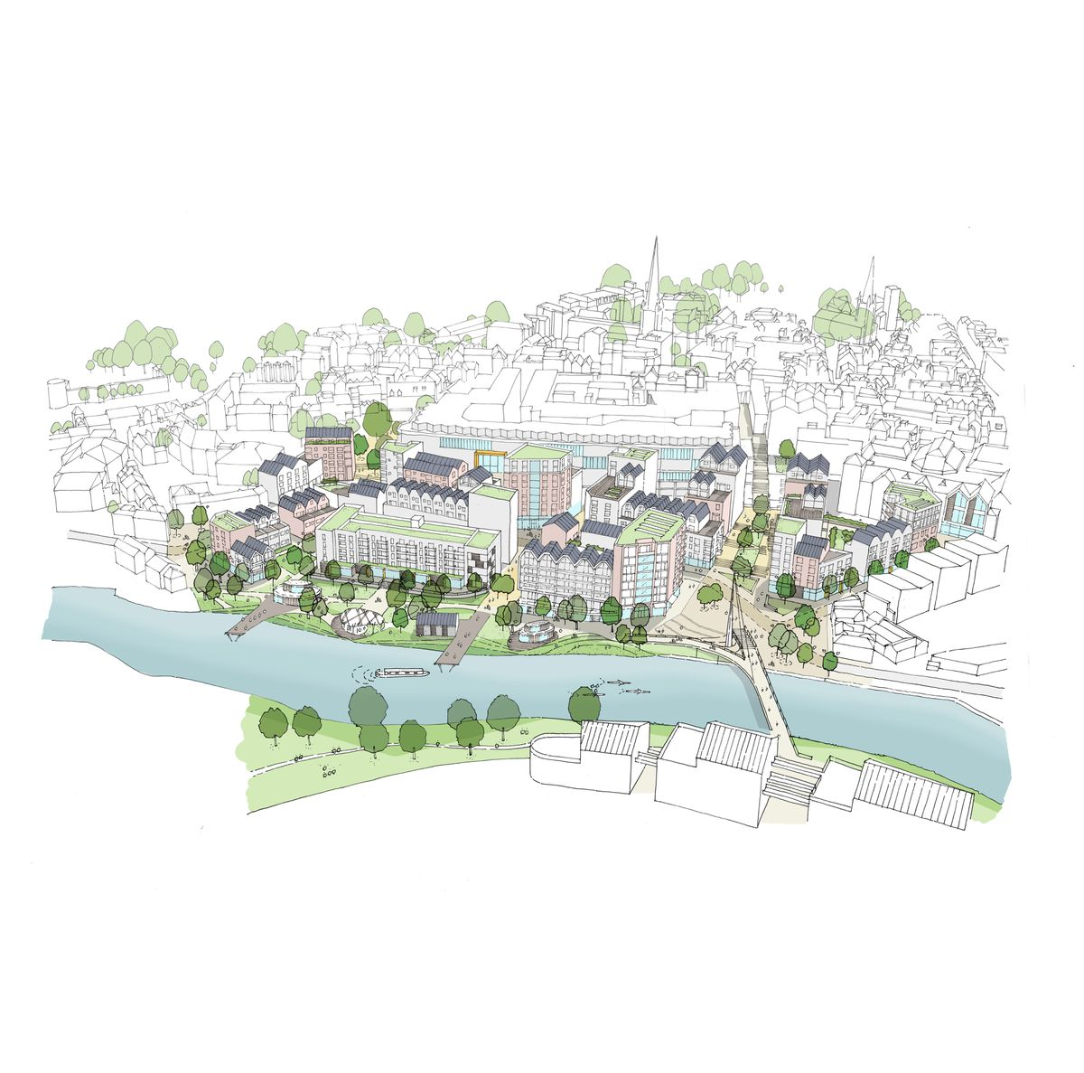 A vision of Smithfield Riverside. Picture: LDA Design