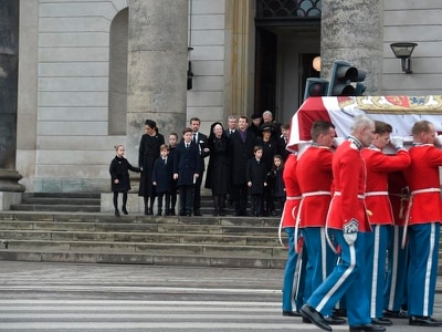 Danish royals attend private funeral for Prince Henrik