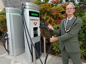 BORDER COPYRIGHT TIM STURGESS SHROPSHIRE STAR...... 15/10/2020. Oswestry Mayor, Duncan Kerr will be switching on Oswestry' Town Council's first electric charges in the main car park..From there he will go to the Old Coffee Pot 35 Church St, Oswestry.  ...