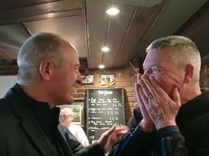 Stunned Wolves fan Ian L'Amy meets his idol Steve Bull who flew into Jersey for a pint