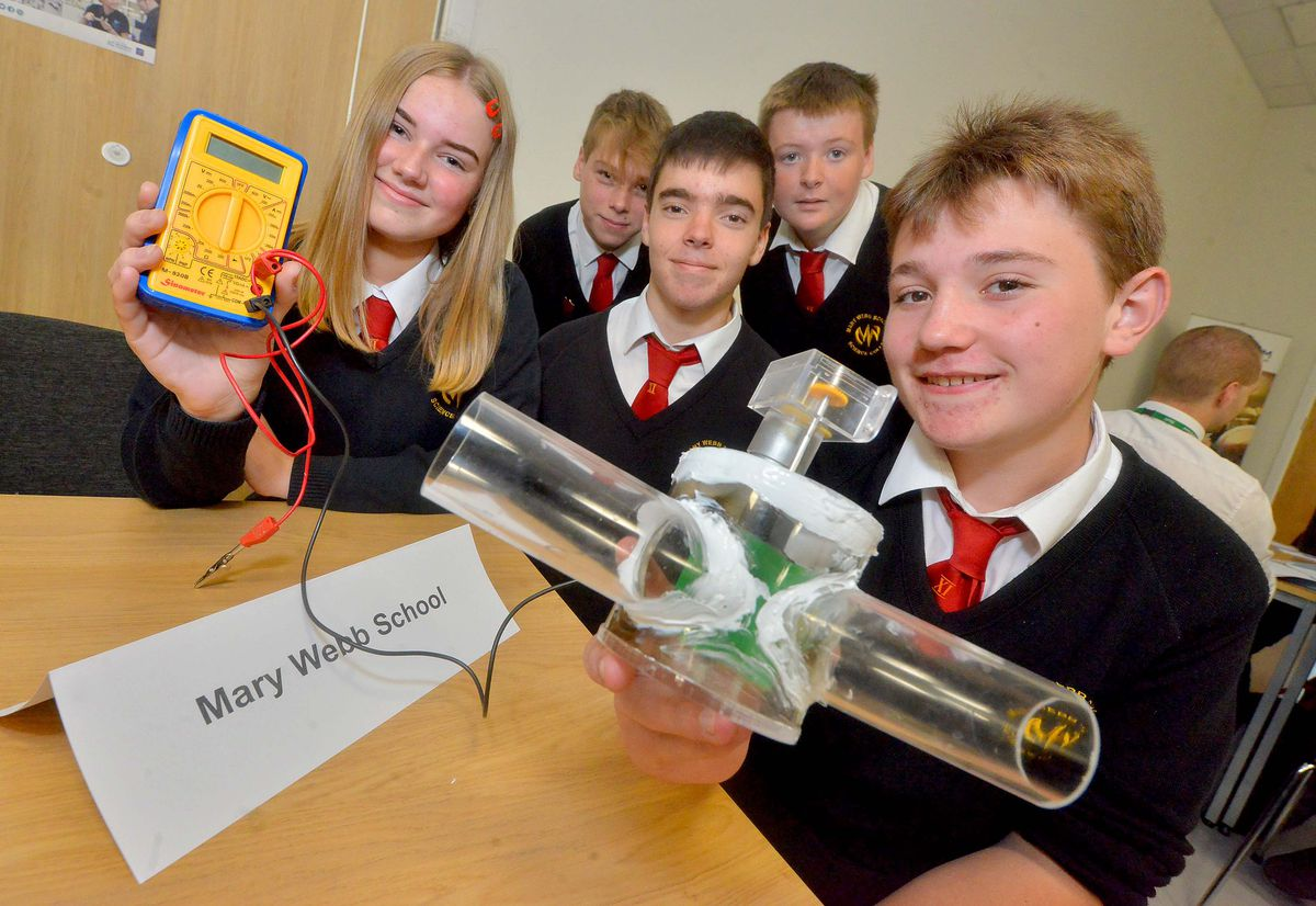Mary Webb School with a turbine for a mains pipe. From left, Ruby North,15, Pip Roberts, 15, Ciaran Evans, 15, Jack Jones, 15, and Marcelo Ortuno, 15