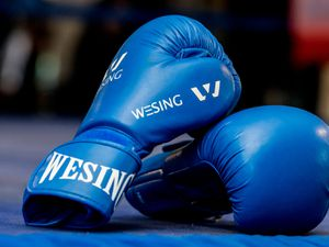 SHREWS COPYRIGHT SHROPSHRIE STAR JAMIE RICKETTS 25/10/2015  Salopian Amateur Boxing Club Show at West Midlands Showground.  In Picture: Boxing Gloves.