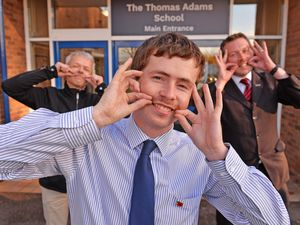 Nine teachers from Thomas Adams school in Wem have taken up the Movember challenge to raise money for Prostate Cancer UK and Midlands Air Ambulance Charity in honour of their colleague Darren Jones who passed away recently. Pictured left, Patrick Phillips, Sam Peate and Oliver Stokes