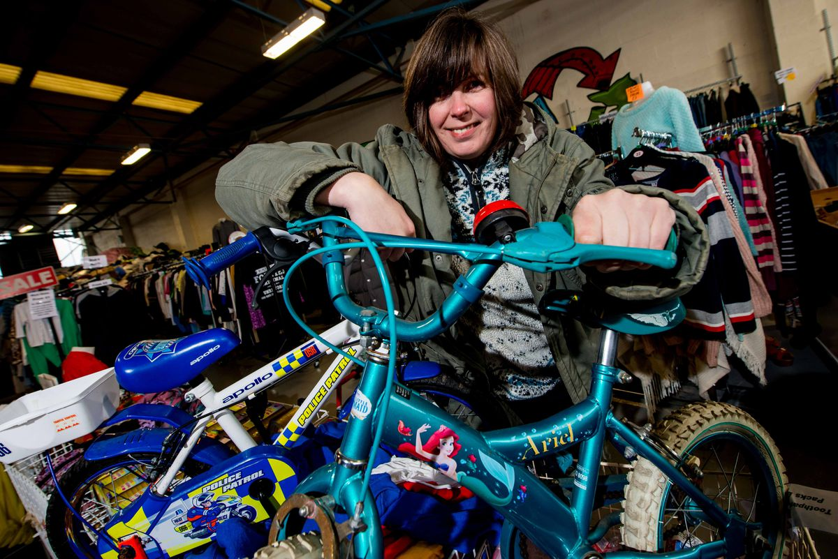 Lea Beven with some of the bikes Shropshire Loves has collected for its appeal.