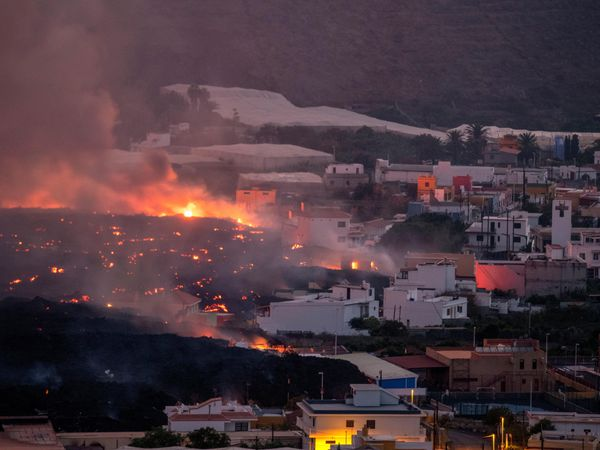 Lava from the volcano has destroyed houses on La Palma