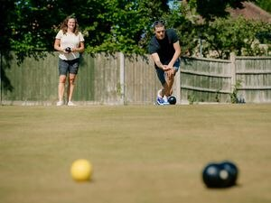 LAST COPYRIGHT SHROPSHIRE STAR JAMIE RICKETTS 19/05/2020 - Forward-thinking Wrockwardine Wood Bowls Club in Telford have returned to bowls while socially distancing. In Picture: Sophie Meredith (Secretary) and Jamie King (Member)....