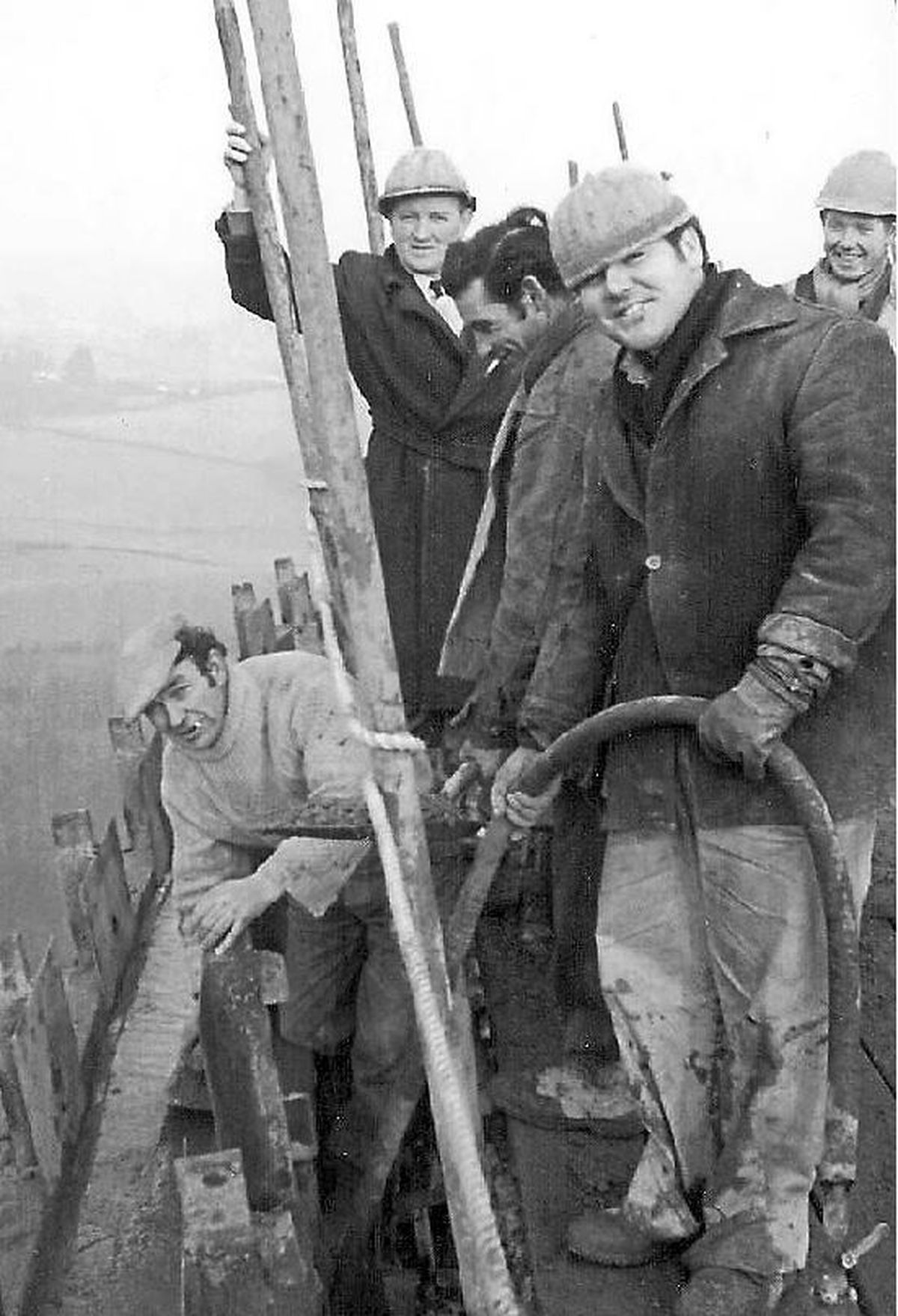 One of Vic Thompson's iconic black and white images of workers at the power station