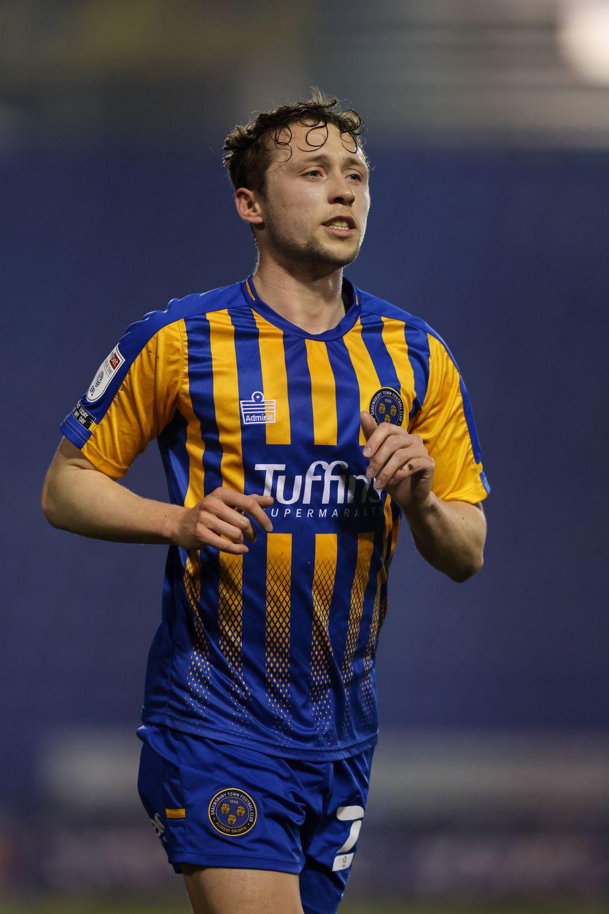 Matthew Pennington made his home debut for Shrewsbury on Tuesday night (AMA)