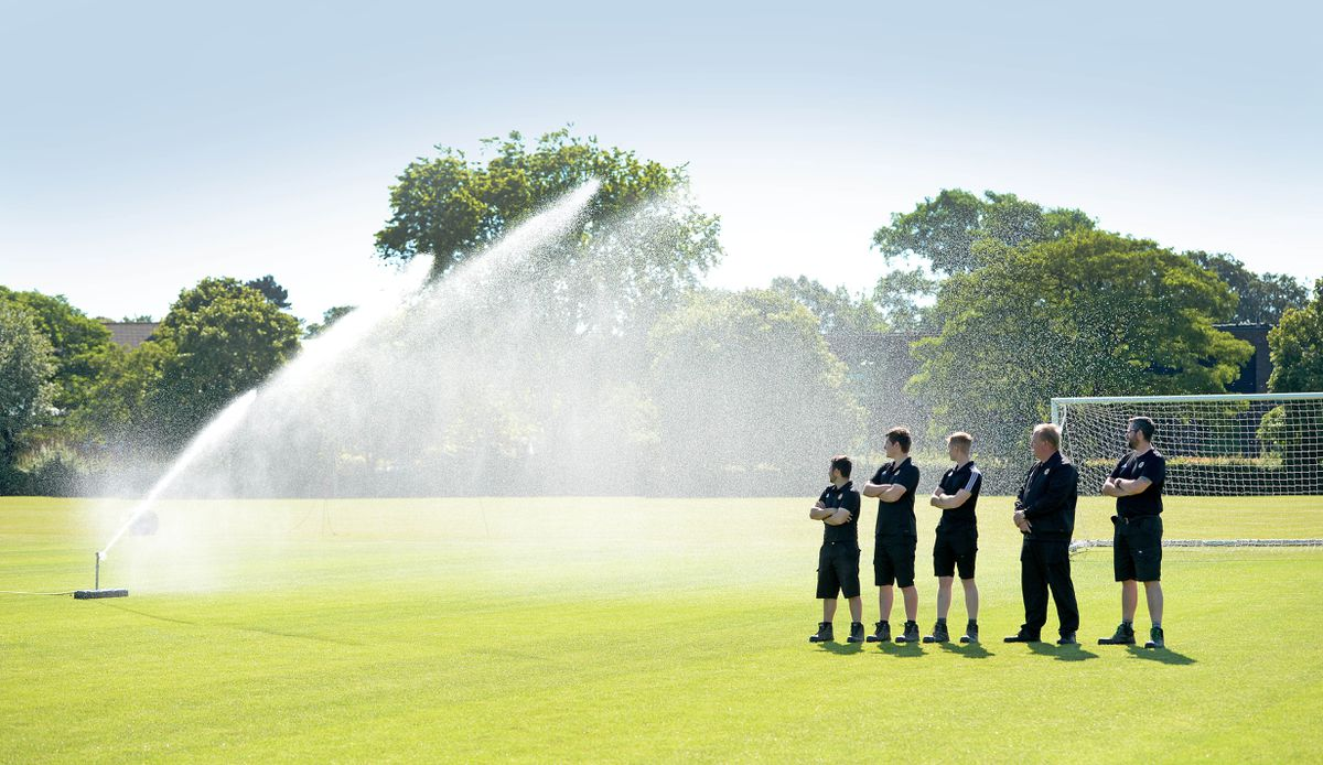 Keeping the pitch well-watered during the summer months is vital
