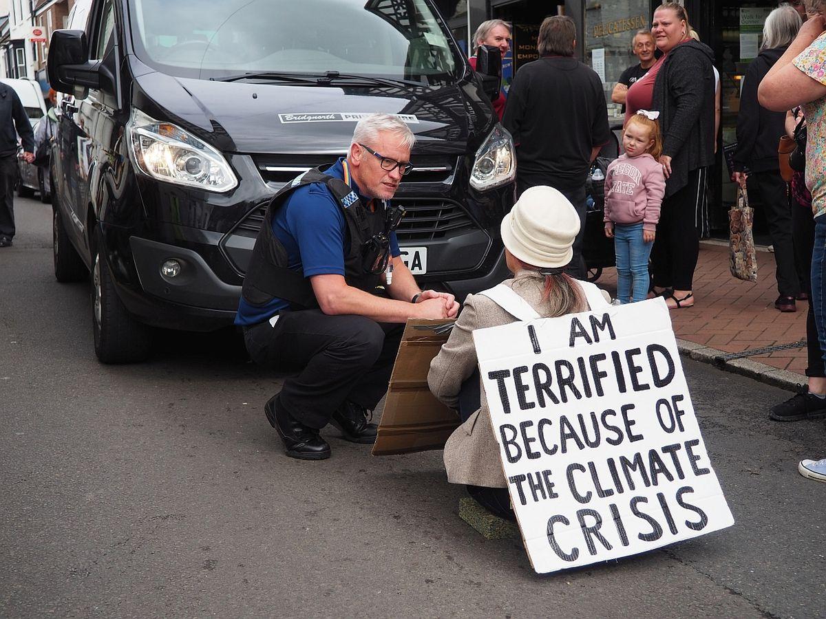 Lone protester in Bridgnorth. Photo: PhilB