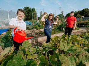 Caden Westwood, eight, Caroline Hounsell, and Jack Davies 10, of Grange Park Primary School, in Telford, celebrate the Virtual Shrewsbury Flower Show school award