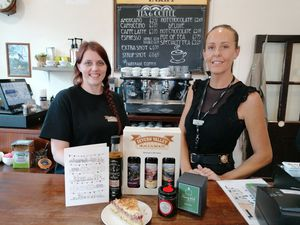 Eve Chance and Lisa Palmer with some of the locally produced goodies.  Photo: Dan Shorthouse