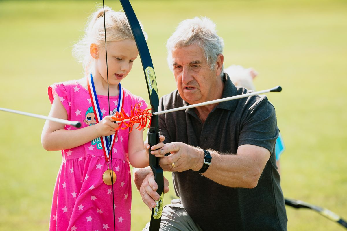 Six-year-old Emmie MacDonald from Market Drayton had a go at the archery
