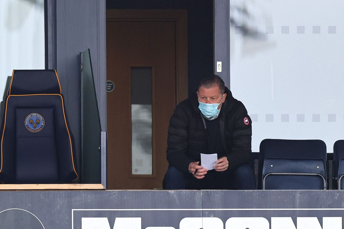 The Town boss managed proceedings from the directors' box at the Roland Wycherley Stand (AMA)